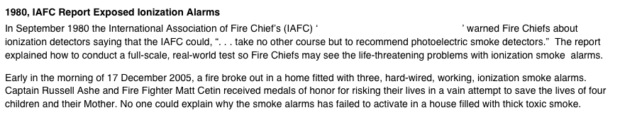 1980, IAFC Report Exposed Ionization Alarms