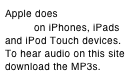 Apple does not support Flash on iPhones, iPads and iPod Touch devices. To hear audio on this site download the MP3s.